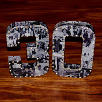 "10th Wedding Anniversary 20th 30th 40th Engagement 8"" Photo Letter Custom Picture Monogram Collage Personalize Birthday Annivesary 360' 3D"