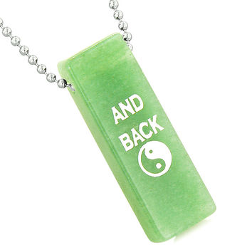 I Love You to the Moon and Back Reversible Yin Yang Energy Amulet Tag Green Quartz 22 Inch Necklace