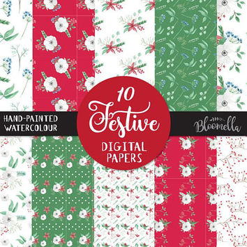 Festive Digital Papers - Christmas Holidays Hand Painted INSTANT DOWNLOAD Flower Stickers Seamless Scrapbook PNG Red Green  Leaves Leaf