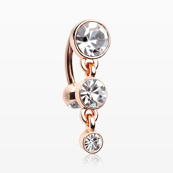 Rose Gold Brilliant Sparkle Triple Gem Reverse Belly Button Ring