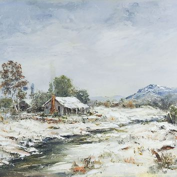Snow Covered Cabin Painting