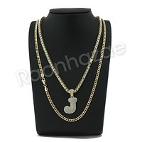 """ICED OUT J INITIAL BUBBLE PENDANT W/ 24"""" MIAMI CUBAN /18"""" TENNIS CHAIN NECKLACE"""