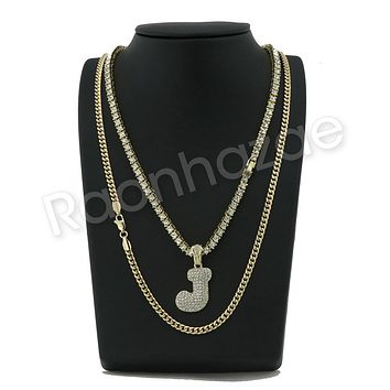 "ICED OUT J INITIAL BUBBLE PENDANT W/ 24"" MIAMI CUBAN /18"" TENNIS CHAIN NECKLACE"