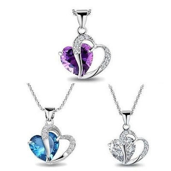 Women Fashion Jewelry Love Heart Crystal Rhinestone Pendant Necklace Chain Gift = 1932986628
