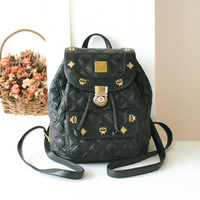 MCM Backpack Black Quilt Leather Authentic Vintage Handbag