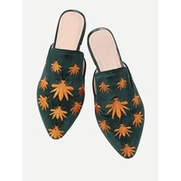 Insect Embroidery Flat Mules