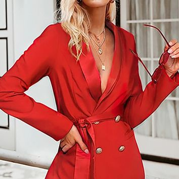 Open For Business Long Sleeve Double Breasted Satin Trim Wrap Belt Blazer Jacket Outerwear - 3 Colors Available