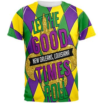 Mardi Gras Let the Good Times Roll Jester All Over Mens T Shirt