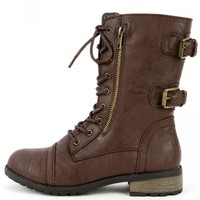 Mango-61 Lace Up Buckle Ankle Boots | MakeMeChic.com