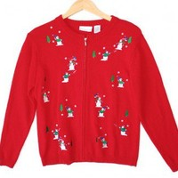 Shop Now! Ugly Sweaters: Snowmen Snowball Fight Tacky Ugly Christmas Sweater / Cardigan Women's Size Small (S) $22 - The Ugly Sweater Shop
