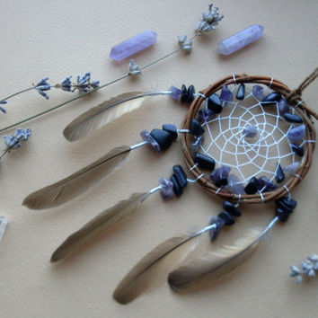 Small natural willow dreamcatcher with amethyst and aventurine