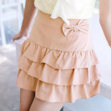 YESSTYLE: Tokyo Fashion- Bow-Accent Layered Skirt (Nude - M) - Free International Shipping on orders over $150
