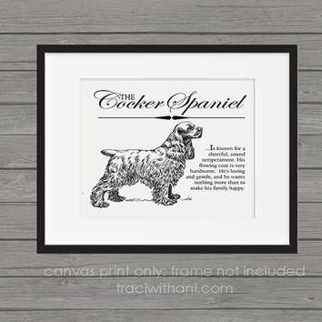 Cocker Spaniel Storybook Style Canvas Print: Dog, Wall Art, Rustic, Vintage, Antique, Decor, Artwork, DIY, Breed, Gift, Hunting, Sporting