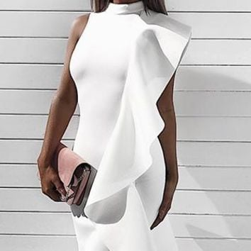Strut This Way White One Shoulder Sleeveless High Neck Ruffle Bodycon Midi Dress