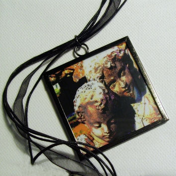 Art to Wear, Best Friends, Photo Pendant, Gothic Fine Art Statement Necklace, Photo Jewelry, 2 X 2 Inch Framed Pendant