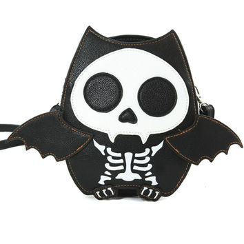 Cute Little Spooky Skeleton Vampire Bat Bag Purse