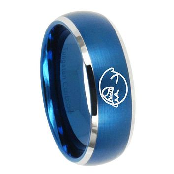 8MM Brush Blue Dome Mario Boo Ghost Tungsten Carbide 2 Tone Laser Engraved Ring