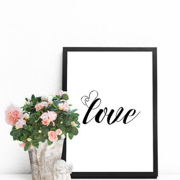 Wall quotes, Word art print, Typography art print, Love wall art, Love poster, Love artwork, Word print, Word wall art, Oversized art prints