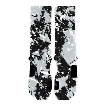 DCCK1IN custom nike elite socks kd lebron kobe all sizes hoopswagg spurs splatter  number 1