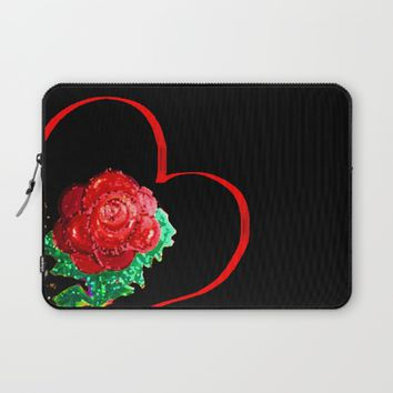 Heart of Rose Laptop Sleeve by ES Creative Designs