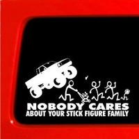 Stick Figure Family Run You Stick Bast*rds nobody cares Monster truck funny stickers car decal bumper *