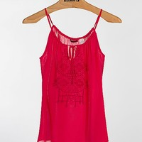 BKE Red Chiffon Tank Top