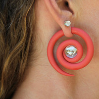 Spiral with Glass Bead Gauge or Faker Gauge Earrings