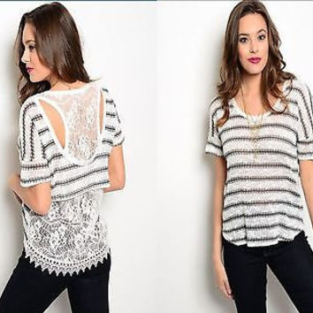 Women Fashion Striped White Gray Top Blouse Shirt Lace Back Hi Low Hem Casual Boho