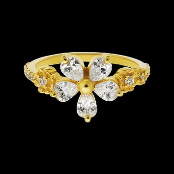 Diamond Flower Garland Ring