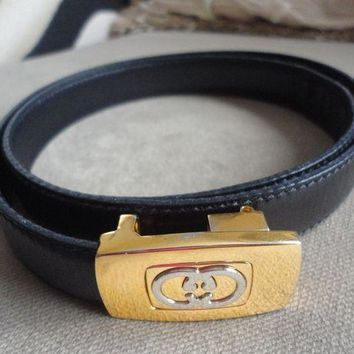 DCCK2JE GUCCI BELT VINTAGE ITALY LEATHER BLACK 32' X 3/4'