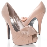 Qupid Women's NYDIA119 Open Peen Toe Bow Platform High Heel Stiletto Pump Shoes, Nude Beige Faux Suede,Nydia-119 Nude Beige 7