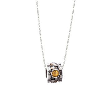 November Citrine Sterling Silver Bead Necklace