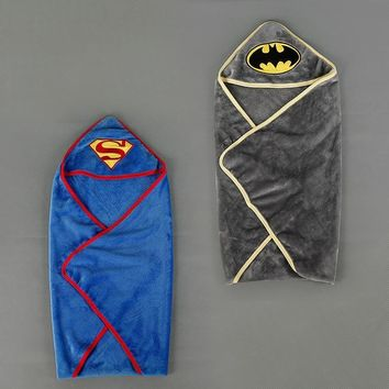 Batman Dark Knight gift Christmas Baby Blankets Newborn Stroller Superman Soft Fleece Infant Bebe Crib Bedding Cartoon Batman Towel Blanket Swaddling 80*80CM AT_71_6