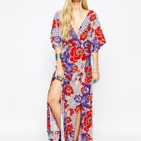 ASOS Kimono Sleeve Maxi Dress in Mixed Floral Print