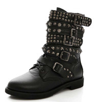 Women's Cowboy Military Boots Punk Studded Rivet Shoes Woman Two Kind Outside Combat Riding Motorcycle Ankle Boots Plus Size 35-4