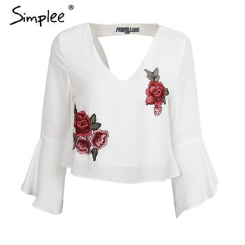 Backless chiffon blouse V neck embroidery blouse shirt Ruffle short white blouse chemise femme Casual summer tops blusas