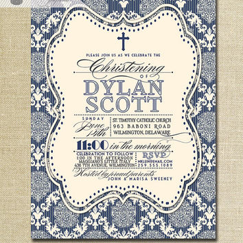 Damask Baptism Invitation Baby Boy Navy Blue Ivory Chic Christening Typography Christian Cross DIY Digital or Printed - Dylan Style
