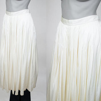 Vintage 80s Skirt / 1980s Cream Silk Pleated Midi Skirt M