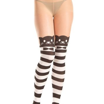 Be Wicked Pantyhose Bow Tie Cat