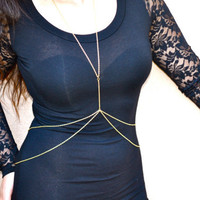 Simple body chain. Gold body chain. Double chain.