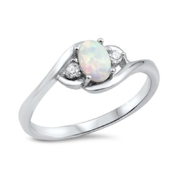 Choose Color Womens Bypass Promise Ring Rhodium Rose Gold Plated Sterling Silver Oval Promise Ring CZ Simulated Opal