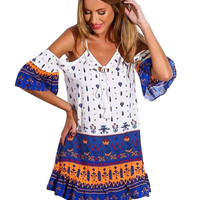 Tribal Print Off-Shoulder Dress