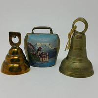 Vintage Brass Bells Set of Three Sarna Bells Cow Bell Made in India