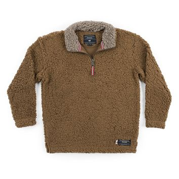 Youth Appalachian Pile Sherpa Pullover in Brown by Southern Marsh - FINAL SALE