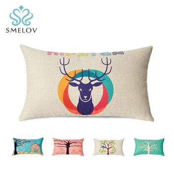 Smelov hot vintga Retro cotton linen chair pillow Home Decor office car lower back lumbar support cushion rectangle throw pillow