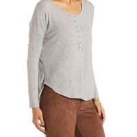 Slouchy Henley Top with Pocket by Charlotte Russe