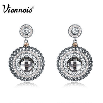 2015 Newest Viennois Fashion Jewelry Antique Silver Plated Woman Double Round Dangle Earrings Austrian Rhinestone and Crystal