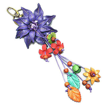 Purple Leather Flower Multi-Color Wood Bead Flower Key Chain, Purse Accessory, Bag Charm, gift  USA SELLER