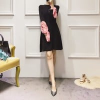 """Dior"" Women Temperament Elegant Simple Multicolor Stitching Perspective Long Sleeve High Waist Mini Dress"