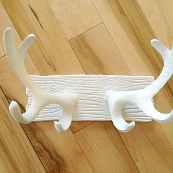 Faux Deer Antler Rack White Jewelry Holder Cast Iron Hook